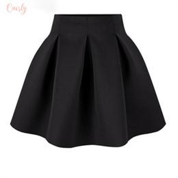 vestidos curtos para o trabalho Desconto Saias pretas Inverno Red cintura alta Plus Size plissada Espaço algodão vestido de baile trabalho curto Girls School Mini Wear S0907
