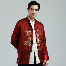 Китайский дракон год онлайн-Traditinal Chinese Cloithing for Men New Year Clothes Embroidery Dragon Full Sleeve Chinese Shirt Style Vintage Hanfu