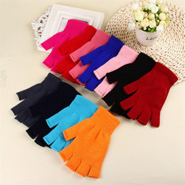 Guanti elastici mezze dita online-Fashion Women Winter Gloves 11 Colors Unisex Solid Color Knit Warm Mittens Half Finger Elastic Gloves Xmas Gifts TTA1772