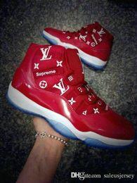 Niños grandes zapatos casuales online-2019 nuevos XI 11 sup hombres, mujeres y niños, zapatos de baloncesto 11s rojos, zapatos casuales, transpirables, jóvenes, grandes, grandes, niñas, entrenadores, deportes