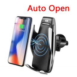 sumsang mobile Desconto Suporte do telefone do carro carregador sem fio para iphone x xr 8 plus xs max com sensor de infravermelho automático aberto