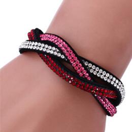 schwarzes bling armband Rabatt Neue mode kristall armband für mädchen frauen schmuck geschenk schwarz samt leder slake armband mit bling strass