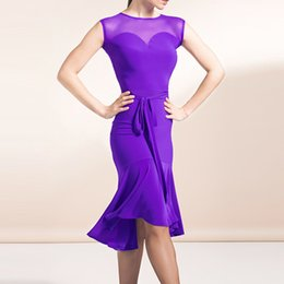 abiti da ballo viola in sala da ballo Sconti New Sexy Black Purple Women Latino Ballroom Dress Dress Waltz Competition senza maniche maglia cuciture Stitching Wear Personalizza DL3512