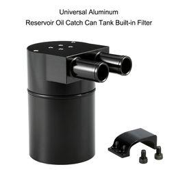 Serbatoio di raccolta dell'olio online-Freeshipping Universal Reservoir Oil Catch Can Tank Serbatoio in lega di alluminio nero ad alte prestazioni con filtro incorporato per BMW N54 335