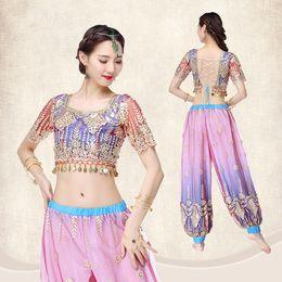21995e5f7f Bollywood Princess Jasmine India danza del ventre Arabian Exotic Fancy Dress  Costume blu 2 pezzi Set (Camicetta Harem Pants) S L costumi da ballo  esotici ...
