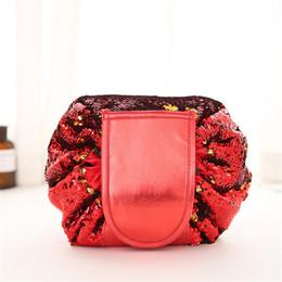Piegare la borsa da viaggio online-2019 VELY vely Sequin Lazy Cosmetic Bag multifunzione portatile con coulisse Borse per il trucco bling custodia da viaggio Fold Storage make up borse per stringhe
