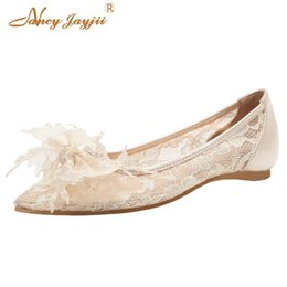 f07edcd4cf Woman Flats Ballet Ladies Shoes Sheepskin Wedding Lace Butterfly-knot Nude  Black Pointed Toe Brand Dress Party Girl Spring 2019