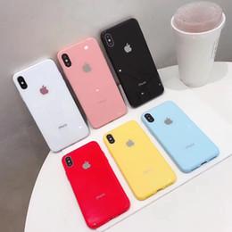 Iphone de color online-Cáscara del teléfono móvil color caramelo iPhone 66 s 7 8 7 más x s XR XS Cáscara máxima del teléfono móvil Cáscara del teléfono móvil de cristal de moda