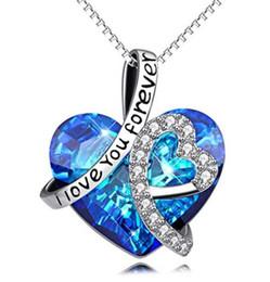 DHL argent je t'aime pour toujours cristal pendentif coeur coeur colliers pour femme bleu collier tour de cou de cristal pour le mariage chaîne collier Val ? partir de fabricateur
