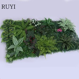 wedding backdrops black white Coupons - rtificial plant wall 10pcs fake artificial plant grass wall for hotel store Backdrop decor Persian leaves Begonia leaves Carpet grass Win...