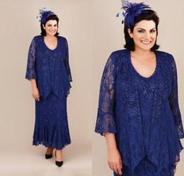 robe de mariée Promotion Élégante Mère De La Mariée Robes Royal Blue Mermaid Dentelle Dentelle De Mariée Invité Robe Ankel Longueur Plus La Taille Robes De Mère De Mère
