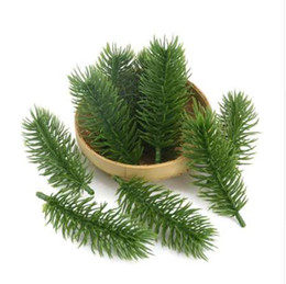 2019 pianta di pino 15pcs 10cm piante artificiali rami di pino albero di natale decorazioni di nozze fai da te accessori artigianali regalo dei bambini bouquet pianta di pino economici