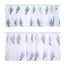 2019 vorhang falten stile Stange gestickte Blume kurzer Vorhang semitransparenter Baumwolle dekorative florale Vorhang für Küche Wohnzimmer Dekoration