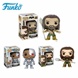 justice toys Promo Codes - FUNKO POP DC Justice League Characters Vinyl Doll #205 #87 Aquaman #209 Cyborg Action Figures Collection Gift Model Toys SH190908
