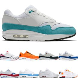 huaraches rosa azul negro Rebajas nike air max 1 Atomic Teal Moda Hombres Mujeres Zapatos Corrientes 1 Aniversario parche real Parra Puerto Rico 87 Mens Sports Platform Sneakers des chaussures
