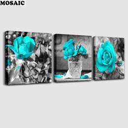 pittura diamante blu Sconti 3pcs nuovo diamante 5d ricamo a punto croce pieno cucito kit pittura diamante diy in bianco e nero stile rosa blu fiori Y19062704
