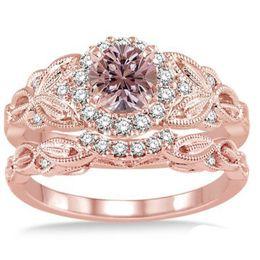 Conjunto de jóias de ouro delicado on-line-Estilo Euramerican Delicado Flores Anéis de Zircão Set Banhado A Ouro Rosa Cor Elegante Anéis de Noivado de Casamento para As Mulheres de Jóias