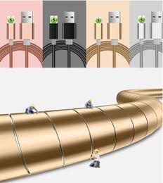 Cables de resorte online-Lujo y micro USB cable Útil 1M de datos del cargador de metal Primavera cables USB para Samsung Iphone Xiaomi Huawei