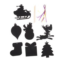 kratzer kinder kinder Rabatt Heißer Verkaufs-7pcs / set Weihnachten Scratch Cards Papier Coloring Karten Kid-Zeichnungs-Spielzeug-Party Favor Geschenke