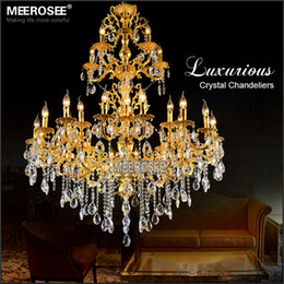 Luxurious Large Brass Color Crystal Chandelier Lamp Crystal Lustre Light Fixture 3 tiers 29 Arms Hotel Lamp