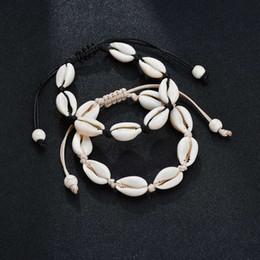 2019 bracelets pour femmes poignets Fait à la main Naturel Coquillage Bracelet Fille Créative À La Main Coquilles En Tricot Perlé Bracelets Femmes Plage Accessoires Partie Cadeau TTA1240