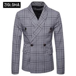 Куртка бизнес-класса онлайн-ZIOLOMA Мужская куртка-пиджак Slim Fit Bussiness ДвубортныйКостюм с двумя пуговицами Повседневная куртка