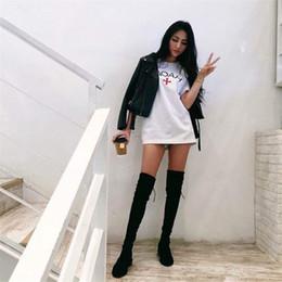 2019 vêtements de marée Femmes été Designer Cross Print Tshirt Mode Lâche Short Tees Vêtements de Marée Plus La Taille Femmes Vêtements vêtements de marée pas cher