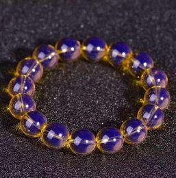 Pulsera de cera de abeja online-ENVÍO GRATIS + + + Dominica blue Perot natural 5A net solo círculo mano dos generaciones Beeswax Beads Bracelet