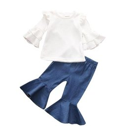 girl jeans top Coupons - Baby Girl princess suit Flared Sleeve Tops+ flared jeans Oversuit 2PCS Set girl Clothing Set LA69