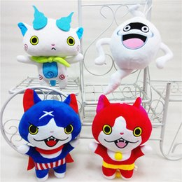 Vidéo de poupée japonaise en Ligne-20cm Jouets En Peluche Japon Yokai Montre Chat Rouge KOMA SAN Nyan Whisper Youkai Montre En Peluche Peluche Douce Poupée enfants