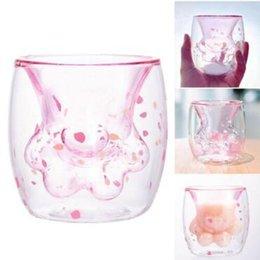 Acqua di zampa online-Cat Paw Cup Party Decorating Supplies Bottiglia di acqua Bicchieri da vino Bambini Latte Tazze Doppio Strato Latte Tè Bere Tazza CCA11357 12 pz