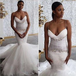 Mädchen robe größe 12 online-African Mermaid Brautkleider mit Perlen Pailletten Spaghetti-schwarze Mädchen Brautkleider Boho robe de mariee Günstige Plus Size Brautkleider
