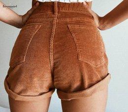 Nuevos pantalones cortos de pana online-La alta cintura elástico pana Pantalones cortos de Nueva cortocircuitos de las mujeres ocasionales femeninos del verano flojo de la cremallera del botón Streetwear Short Shorts