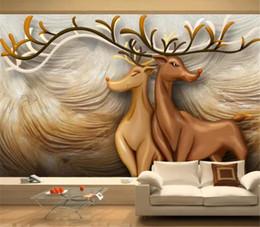 Canada Art relief forêt cerf salon chambre canapé fond décoration murale humidité 3d Digital Print Wallpaper supplier digital art backgrounds Offre