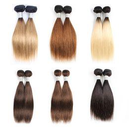 ombre brown короткие волосы Скидка Дешевые цвет человеческих волос ткать пучки ломбер блондинка коричневый Короткий боб 10-12 дюймов 4 пучки/комплект малайзийский прямые волосы Реми наращивание волос