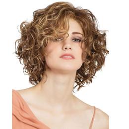 Peruca marrom curto perucas de cabelo sintético ondulado encaracolado afro-americano mulheres negras perucas de fibra resistente ao calor de