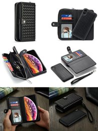 Bolsa magnética magnética para iphone on-line-Destacável Trançado Magnético Flip Leather Wallet Cadeia Bolsa Shell Pulseira Pulseira Caso Bolsa Braid Impressão para iPhone XS Max XR Samsung S10