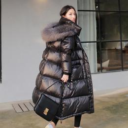 2019 Winter Ente unten Jacken Frauen Bright Black Coat weibliche lange starke warmer Parka Natur Waschbär Pelz Kragen mit Kapuze r1874