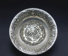 2019 ciotole di porcellana bianco La Cina vecchio Feng Shui ornamenti bianco rame argento placcatura rondella pennello-scrittura ciotole di porcellana bianco economici