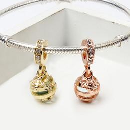 Pulseiras soltas on-line-Bee Honeycomb Charme Beads para Pandorx Pulseiras de Ouro Rosa de Ouro Cores CZ Liga de Estilo Europeu Solto Beads Fit Bangles Jóias Presente de Natal