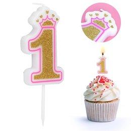 Decorações da coroa do ouro on-line-Número velas do aniversário ouro rosa crianças Velas do aniversário para o bolo Fontes do partido Decoração de Bolos Crown Velas