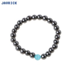 JAVRICK Magnetic Beaded Simulated Hematite Stone Bracelet Men's Jewelry wIth Blue Opals от