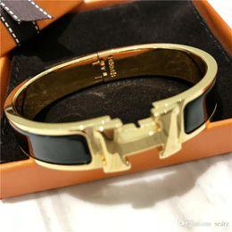 фабрика прямые китайские ювелирные изделия Скидка 12 мм роскошные манжеты из нержавеющей стали браслеты браслеты эмаль браслет золото H пряжка классический бренд браслеты