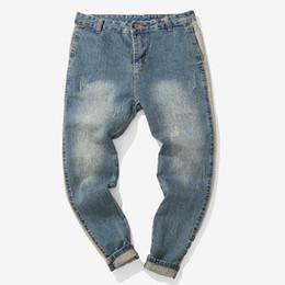 Pantalon de travail vintage en Ligne-Mode masculine 2019 Casual Automne Denim Coton Vintage Wash Pantalon de travail Hip Hop Jeans Pantalon