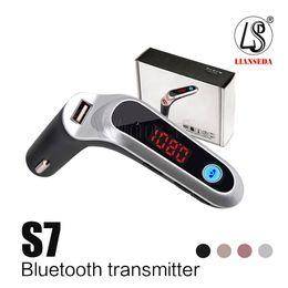 Автомобиль с флеш-картой онлайн-FM-передатчик S7 Bluetooth автомобильный комплект HandsFree FM-радио адаптер LED Автомобильный адаптер Bluetooth Поддержка TF карта USB-флеш-накопитель AUX вход / выход