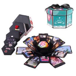 2019 latas redondas de regalo Hexágono DIY Sorpresa Love Explosion Box álbum de fotos Aniversario de la caja de regalo para San Valentín cumpleaños Decoración de Christams