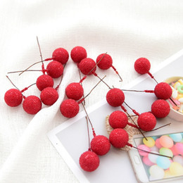 berry beads diy Promo Codes - 20Pcs lot Mini Stamen Flower Small Berries Pearl Beads DIY Craft Gift Box Decoration Christmas Wedding Party Supplies