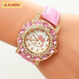 Orologio da bambina rosa kt cat hello kitty quarzo bambini cartoon bracciale con diamanti 2019 INS lady regalo splendente orologio da polso di lusso impermeabile da