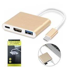 Canada Adaptateur de concentrateur USB C 3 en 1 Type-C à 4K HDMI USB 3.1 Chargement Convertisseur multi-ports Splitter pour MacBook Pro PC Offre