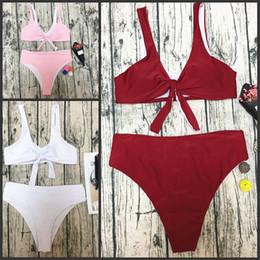Tops de trajes de baño blancos online-Mujeres Tie Bikini Sexy Suave Playa de Calidad Superior Traje de Baño Triángulo Blanco Rosa Show Off Moda Simple traje de baño 20yfD1